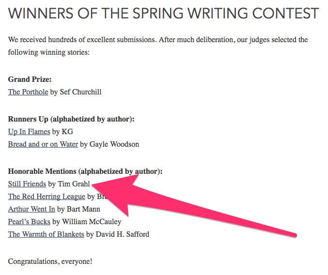 Writing Contest Results