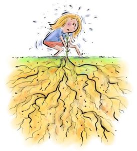 Cartoon blond woman pulling a weed whose root system is enormous
