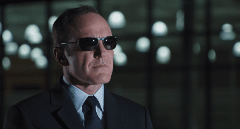 screenshot from The Avengers, showing Phil Coulson wearing sunglasses at night