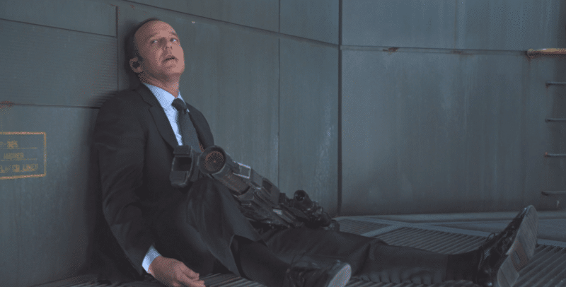 screenshot from The Avengers showing Phil Coulson, dying, after being stabbed by Loki