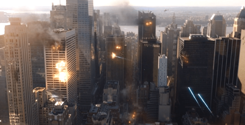 screenshot from The Avengers, showing embattled Manhattan with buildings on fire