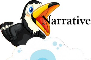 A cartoon-like image of a toucan, its large bill wide open as if speaking or laughing, and the word Narrative coming out of his mouth