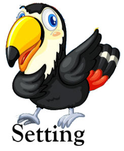 A cartoon-like image of a black and white toucan bird with a large bill, standing on the word Setting