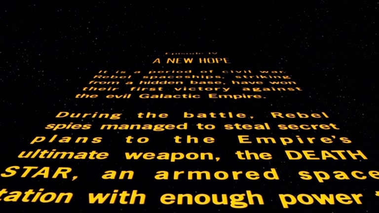 A screen capture of the opening crawl of Star Wars 1977, yellow text on a black background explaining the backstory of the movie.
